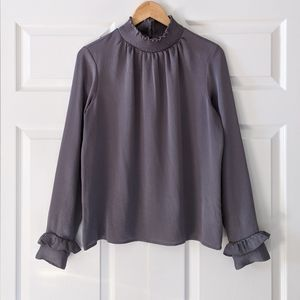 Express Silver Gray Ruffle Collar Blouse | M